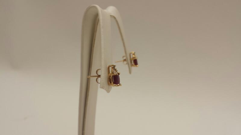 14k Yellow Gold Earrings with 2 Oval Red Stones and 6 Diamonds (PR) .8dwt