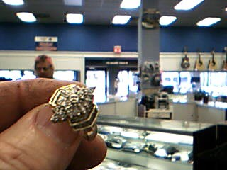 Lady's Diamond Cluster Ring 47 Diamonds .88 Carat T.W. 10K Yellow Gold 5.34g