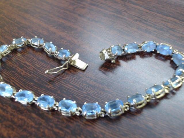 Blue Stone Gold-Stone Bracelet 14K Yellow Gold 8.2g