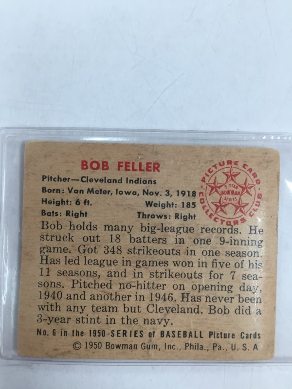 1950 BOWMAN BOB FELLER BASEBALL CARD