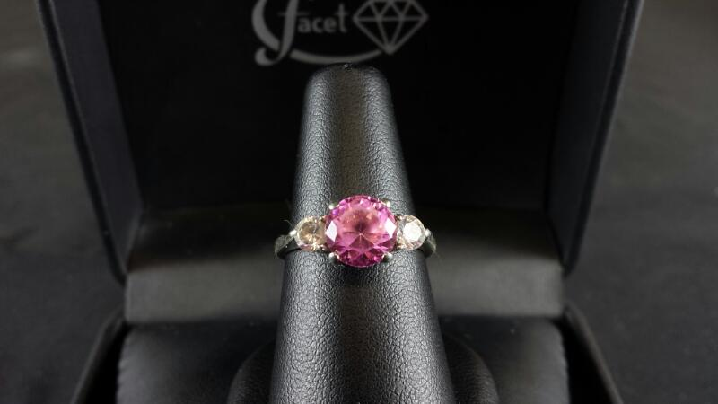 Pink and Cubic Zirconia Sterling Silver Ring SZ 7