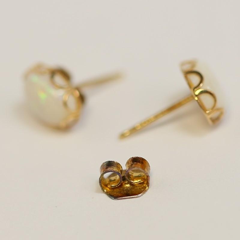 14K Yellow Gold Oval Cut Opal Stud Earrings