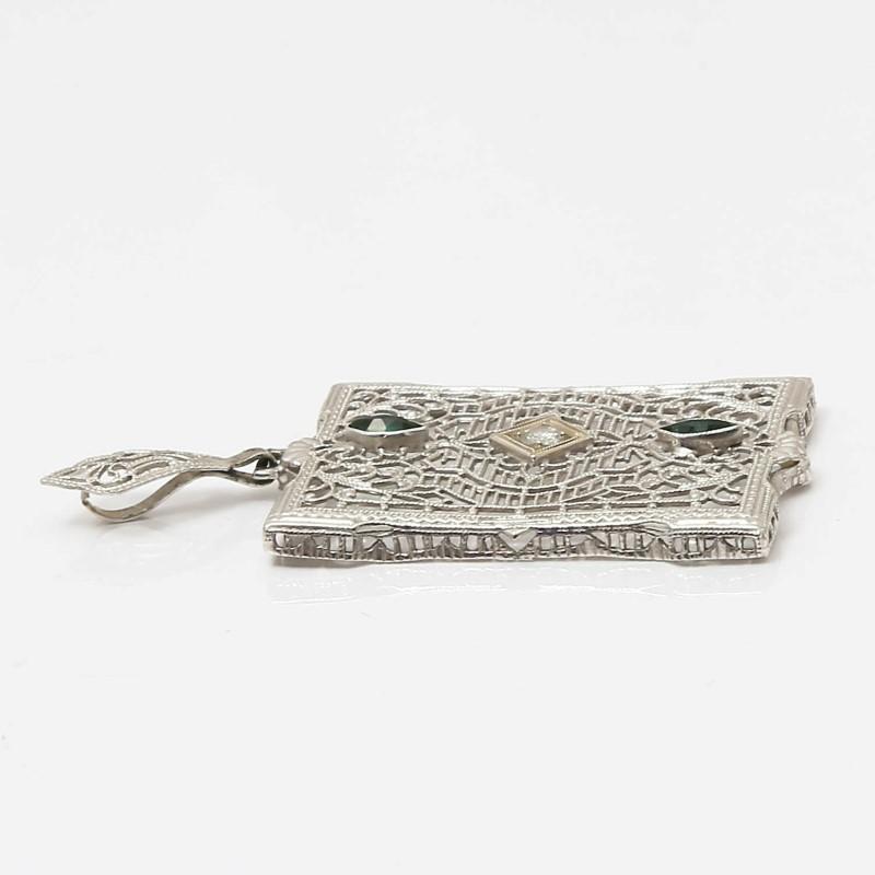 Vintage Inspired 14K W/G Marquis Emerald & Round Diamond Pendant