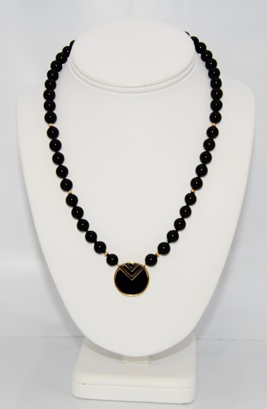 "17"" Gold Toned Black Beaded V Circle Statement Necklace"