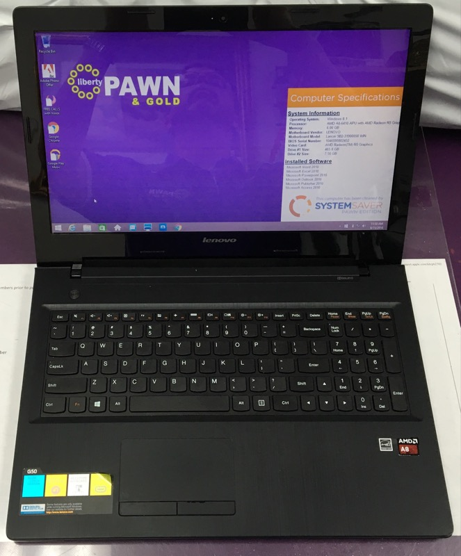 LENOVO LAPTOP G50-45, WIN 8.1, AMD A-8 6410, 6GB MEMORY, 500GB HDD