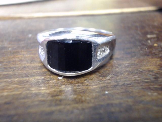 Black Stone Gent's Stone Ring 10K White Gold 7.3g