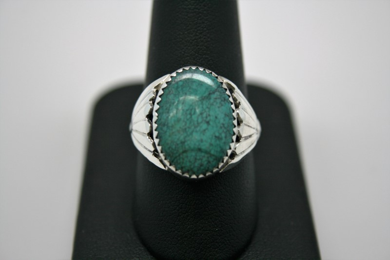GENT'S SILVER TURQUOISE RING 9.5
