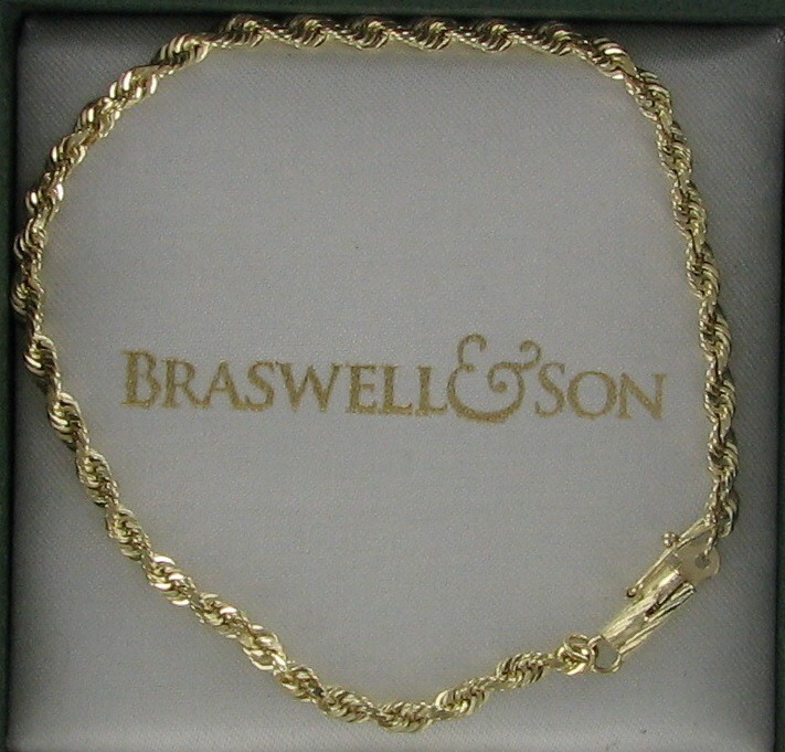 Gold Rope Bracelet 14K Yellow Gold 3dwt
