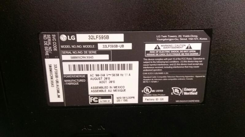 "LG 32"" SMART FLAT PANEL TV WITH REMOTE MODEL  32LF595B-UB"