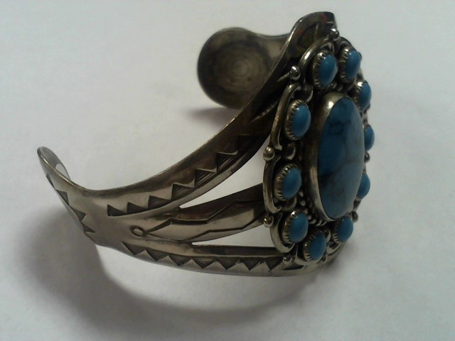 Turquoise Silver-Stone Bracelet Nickle Silver 33.3g