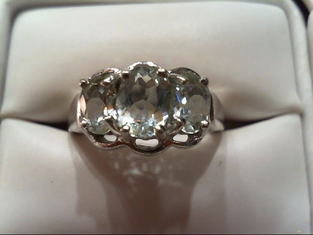 Aquamarine Lady's Silver & Stone Ring 925 Silver 3.8g