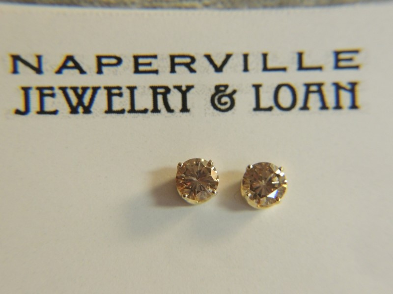 Gold-Diamond Earrings 2 Diamonds 1.00 Carat T.W. 14K Yellow Gold 1g