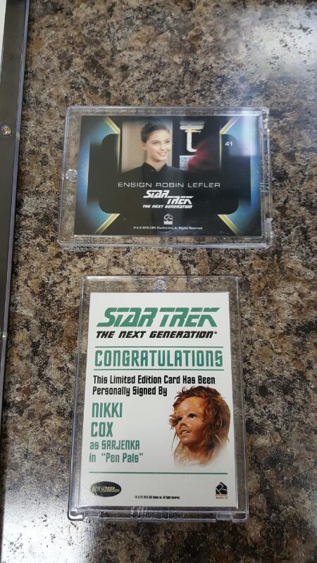 Lot of 35 Star Trek Signed Cards TNG, VOY, Movies