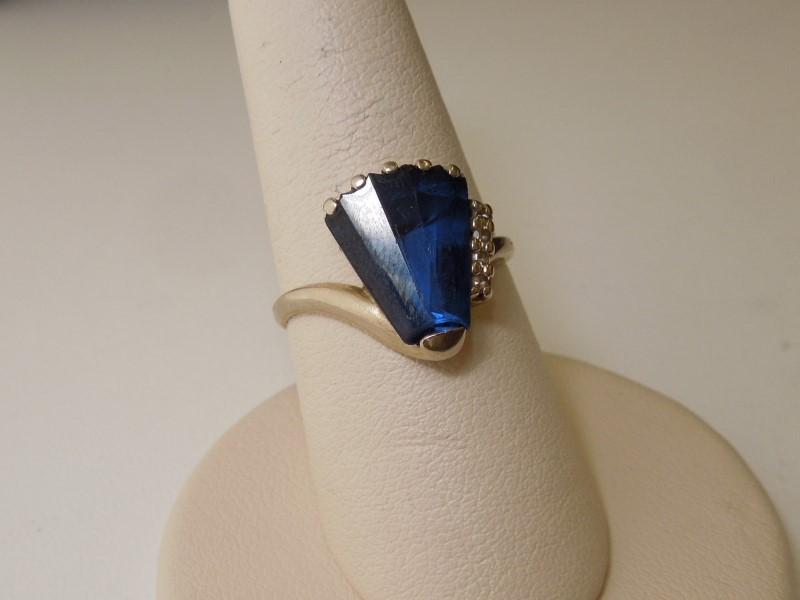 Blue Stone Lady's Stone & Diamond Ring 4 Diamonds .08 Carat T.W. 10K White Gold