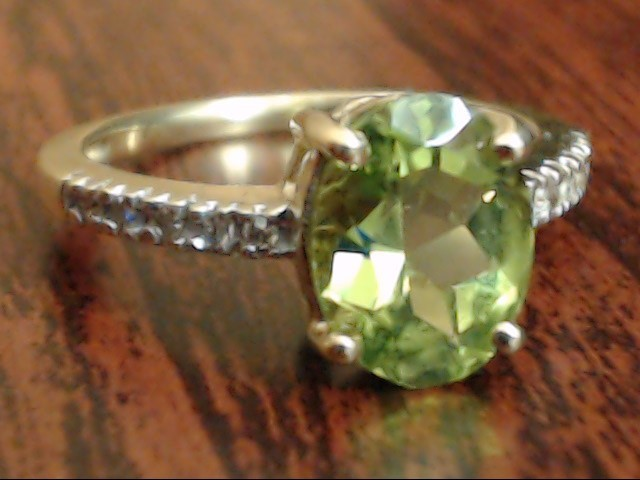 VINTAGE OVAL CUT PERIDOT DIAMOND RING SOLID REAL 14K GOLD SIZE 5.5