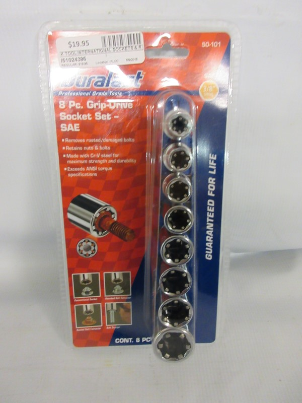 DURALAST 50-101 8pc Grip Drive Socket Set-SAE