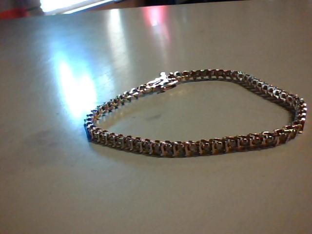 Gold-Diamond Bracelet 30 Diamonds .60 Carat T.W. 10K Yellow Gold 8.1g
