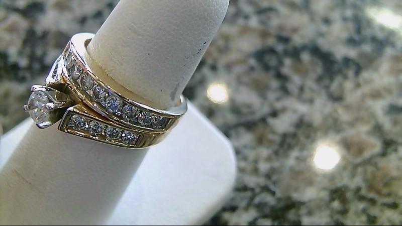 Lady's Diamond Wedding Set 9 Diamonds .91 Carat T.W. 14K Yellow Gold 3.9g