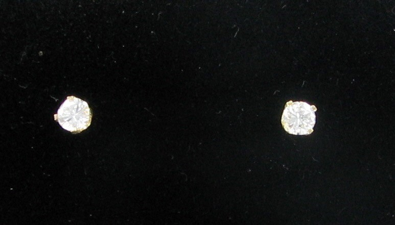 Gold-Diamond Earrings 2 Diamonds .32 Carat T.W. 14K Yellow Gold 0.41dwt