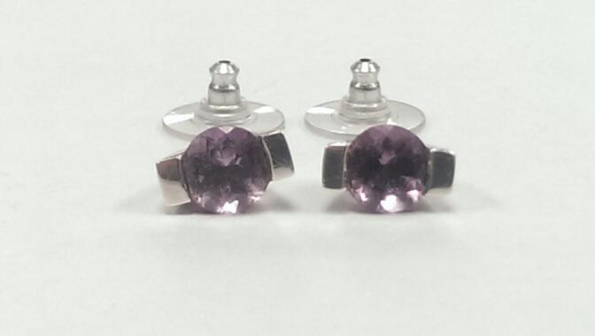 Amethyst Metal Craft Silver Earrings 925 Silver 3.2g