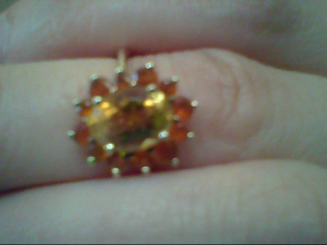 Yellow Stone Lady's Stone Ring 10K Yellow Gold 2.3g