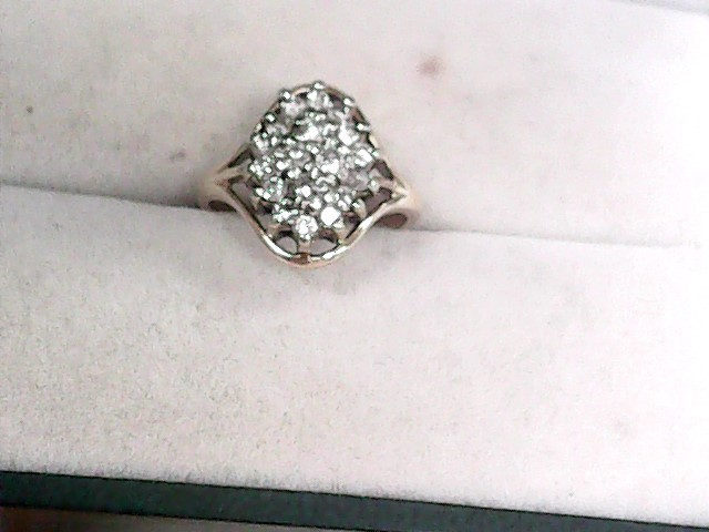Lady's Diamond Cluster Ring 19 Diamonds .57 Carat T.W. 14K Yellow Gold 1.97dwt