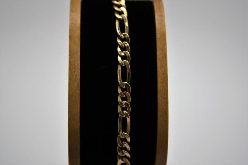 "FIGARO STYLE BRACELET 14K YELLOW GOLD 7"""
