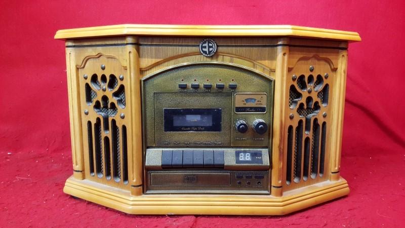 Nostalgic 6-in-1 Stereo w/ Turntable, CD, Cassette, Radio Electro Brand
