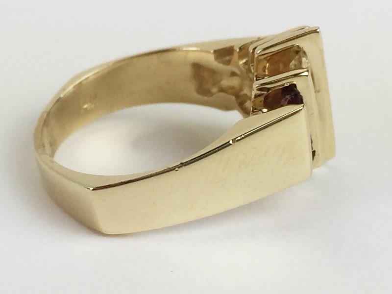 LADY'S DIAMOND RUBY SAPPHIRE EMERALD RING .18CTW 14K YG SZ 7 6.33G
