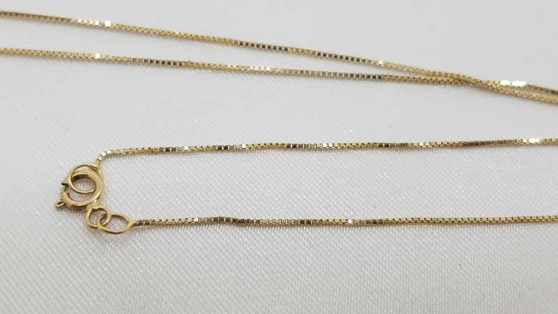 "18"" Gold Box Chain 14K Yellow Gold 1g"