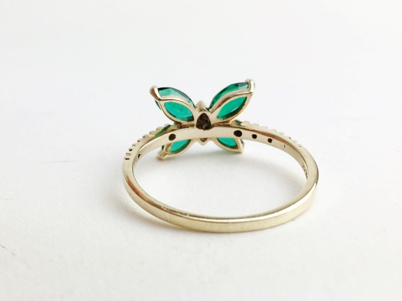 14KT YG Synthetic Emerald & Diamond Butteryfly Ring Sz 7