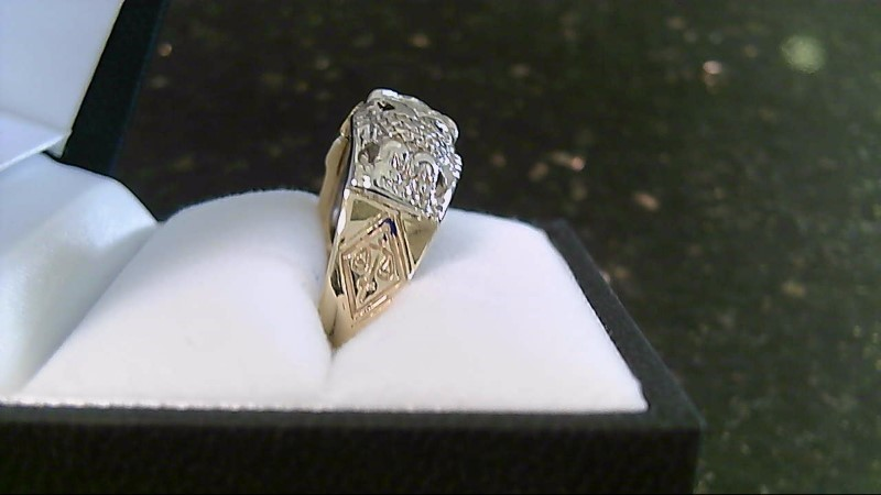 Masonic Scottish Rite 32 VS2 J European Cut Diamond 10K 2 Tone Ring