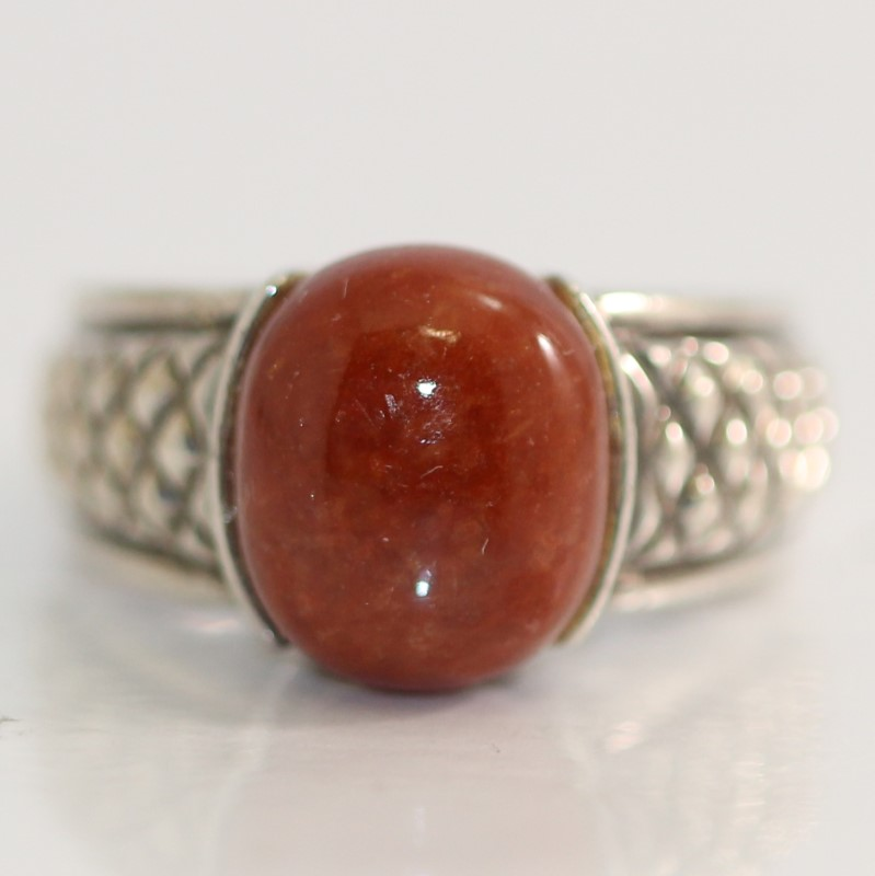 Sterling Silver Oval Cut Orange Stone Ring Size 6.75