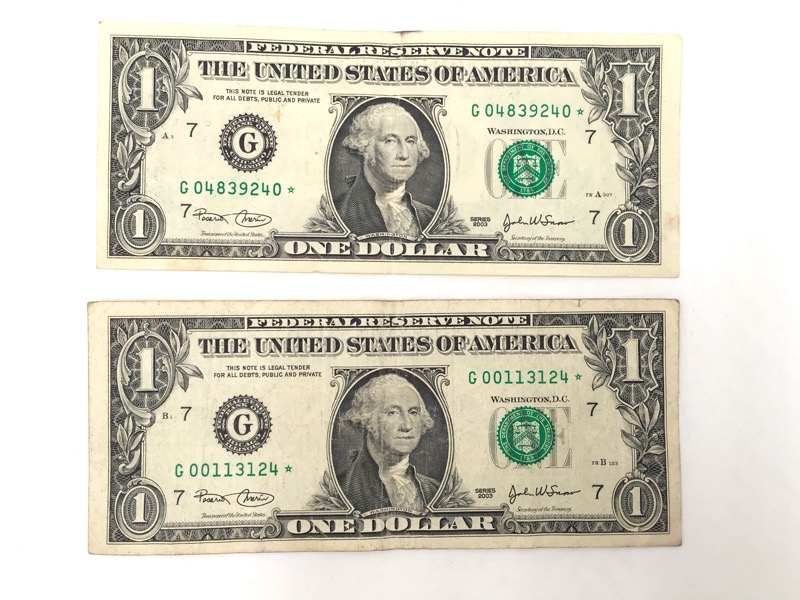 2003 $1 Dollar STAR Notes - Chicago G Serial No. - Lot of 2