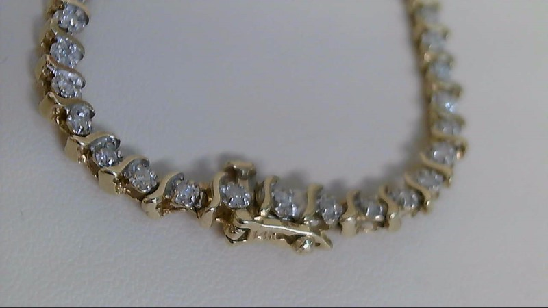 Gold-Diamond Bracelet 46 Diamonds .92 Carat T.W. 14K Yellow Gold 6.4g