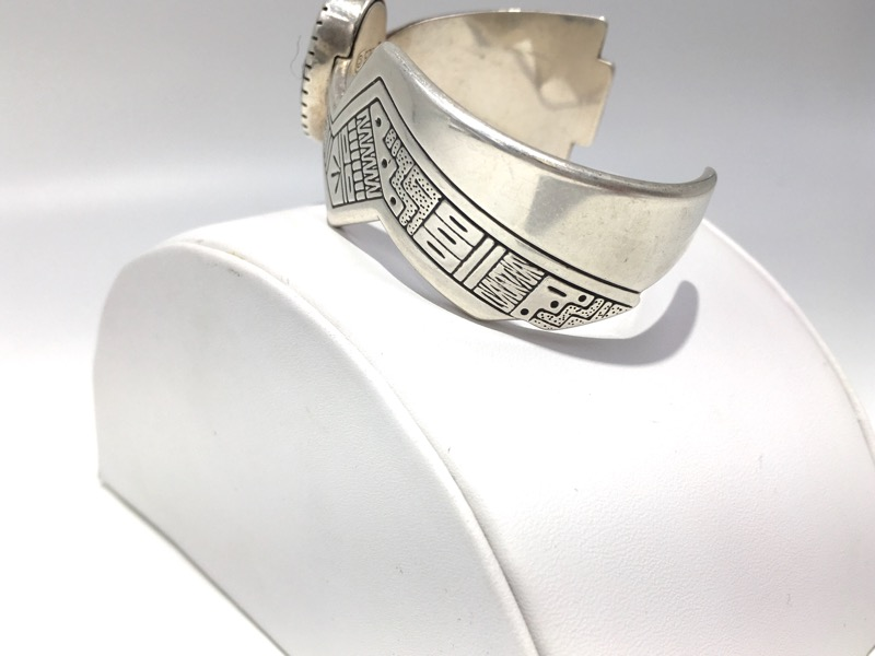RODERICK TENORIO STERLING SILVER TURQUOISE INLAY CUFF BRACELET