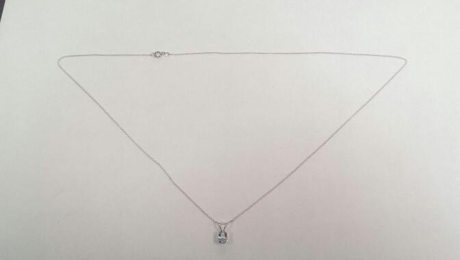 """18"""" Aquamarine Stone Necklace 14K White Gold 0.6g"""