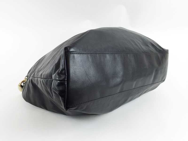 GUCCI 189839 BLACK LEATHER LARGE HOBO BAG