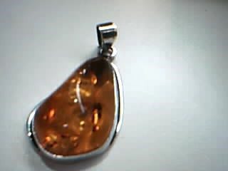 Synthetic Amber Silver-Stone Pendant 925 Silver 7.8g