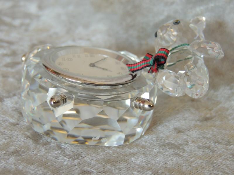 Swarovski Crystal Kris Bear Clock Retired Figurine 212687