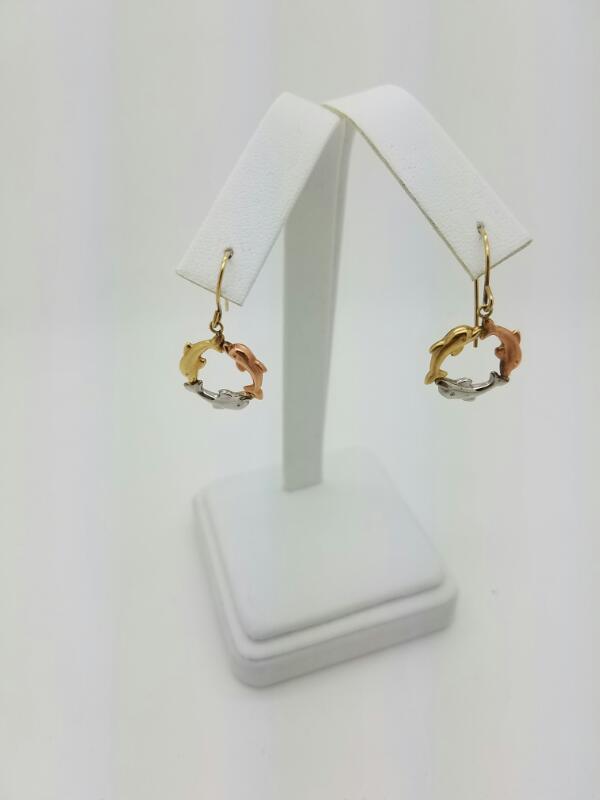HOOP Gold Earrings 10K Tri-color Gold 0.8dwt