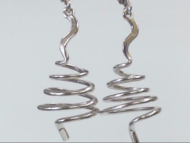VINTAGE SOLID REAL 14K WHITE GOLD EARRINGS SPIRAL SWIRL SCREW 1.5""