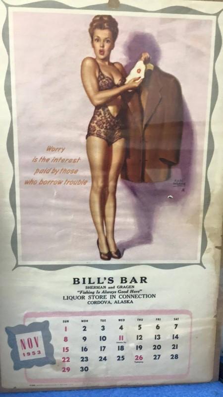NOVEMBER 1953 CALENDAR GIRL BILL'S BAR