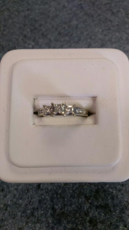Lady's Diamond Solitaire Ring 9 Diamonds .37 Carat T.W. 14K WG 2.3g SZ 6.5