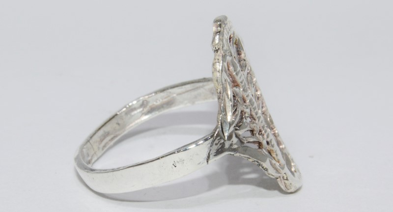 Sterling Silver Vintage Inspired Diamond Cut Open Work Filigree Shield Ring sz 7
