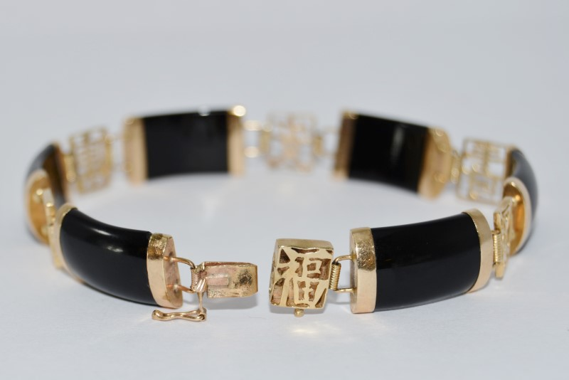 "7"" 14K Yellow Gold Asian Inspired Cabochon Black Onyx Tennis Bracelet"