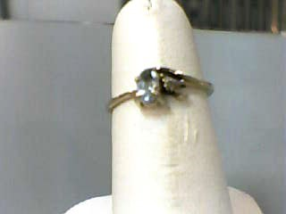 Synthetic Aquamarine Lady's Stone Ring 10K Yellow Gold 0.7dwt Size:5