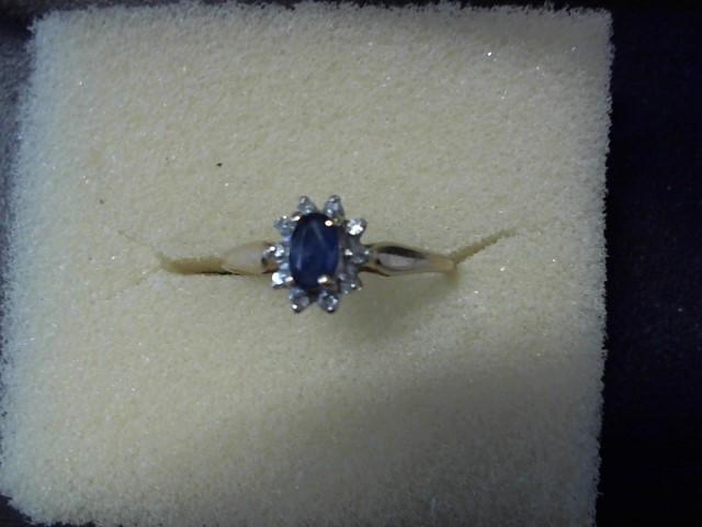 Synthetic Sapphire Lady's Stone & Diamond Ring 9 Diamonds .09 Carat T.W.