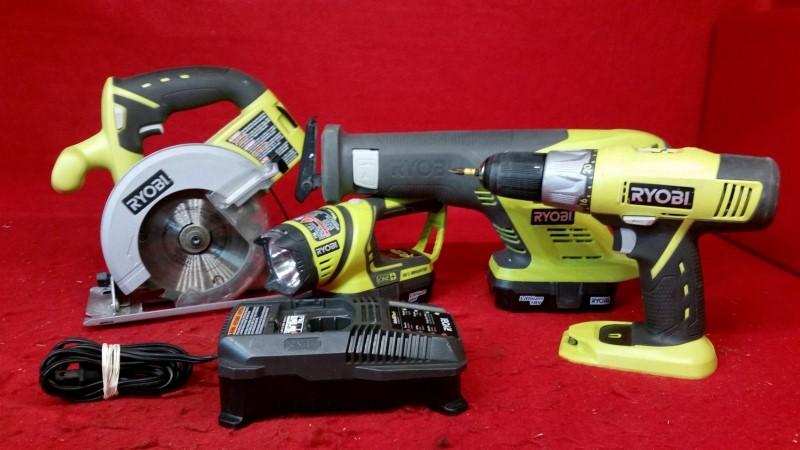 Ryobi 18v Cordless Combo Set - Drill / Recip Saw / Circular Saw / Light
