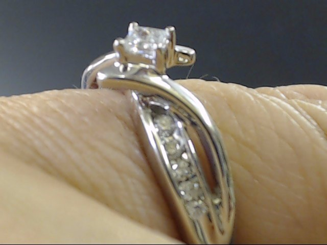 VINTAGE PRINCESS DIAMOND ENGAGE WED RING SOLID 10K WHITE GOLD SIZE 7